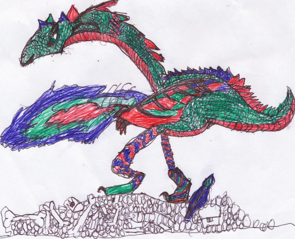9 year old's drawing of a dragon on a pile of bones